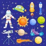 Astronauten ruimte vectorpictogrammen die van de het zonnestelsel de toekomstige exploratie van het planetenruimteschip raket van royalty-vrije illustratie