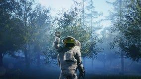 Astronauten` s eerste contact met vreemdelingen Super realistisch concept vector illustratie