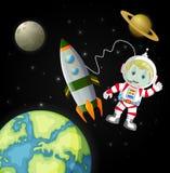 Astronauten som undersöker galaxen Arkivbild