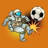 Astronauten speelvoetbal Sportvoetbal vector illustratie
