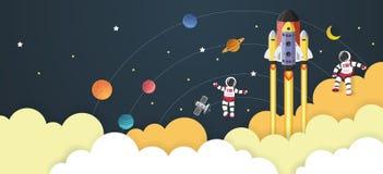Astronautenbeeldverhaal met een ruimteschip in ruimte Stock Foto's