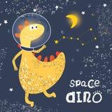 Astronautendinosaurus in een spacesuit in ruimte De constellatieursa minderjarige Ruimtegrungetextuur Vector voor het ontwerp van vector illustratie