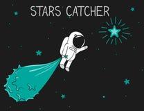 Astronautenfang die Sterne lizenzfreie abbildung