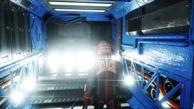 Astronautengang in ruimteschipbinnenland martian Sc.i - FI-concept Realistische 4K animatie