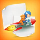 Astronautenjong geitje die rode raket met teddybeer berijden vector illustratie