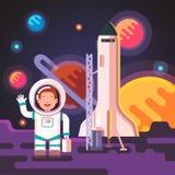 Astronautenjongen op een maan of een vreemde planeet is geland die Stock Foto