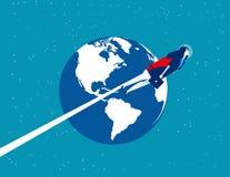 Astronautenonderneemster over de aarde Concepten bedrijfstechnologie vectorillustratie Vlakke beeldverhaaltekenstijl stock illustratie
