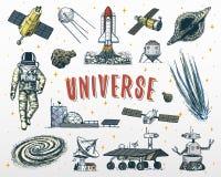astronautenruimtevaarder Planeten in zonnestelsel astronomische melkweg de kosmonaut onderzoekt avontuur Gegraveerde getrokken ha vector illustratie