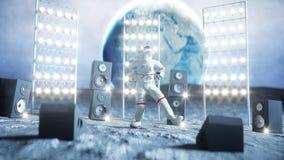 Astronautentanzen auf dem Mond Wiedergabe 3d Stockfotografie