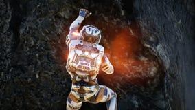 Astronautenvlucht van de krater van de vulkaan Super realistisch concept vector illustratie