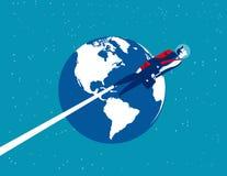 Astronautenzakenman over de aarde Concepten bedrijfstechnologie vectorillustratie Het vlakke ontwerp van de beeldverhaaltekenstij vector illustratie