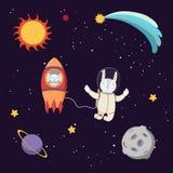 Astronautes animaux mignons dans l'espace illustration de vecteur