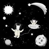 Astronautes animaux mignons dans l'espace Image libre de droits