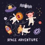 Astronautes animaux mignons illustration de vecteur