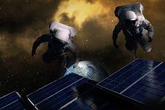 Astronautes dans l'espace illustration de vecteur