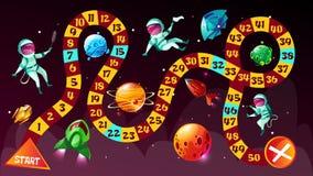Astronautes de jeu de société dans l'illustration de bande dessinée de vecteur d'espace illustration stock