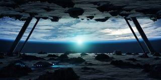 Astronautes explorant des éléments d'un rendu du vaisseau spatial 3D d'asteroïde Images libres de droits