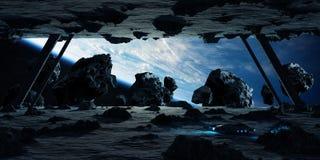 Astronautes explorant des éléments d'un rendu du vaisseau spatial 3D d'asteroïde Images stock