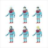 Astronautes plats colorés réglés illustration libre de droits