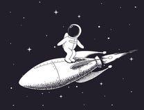 Astronautet flyger på raket royaltyfri illustrationer