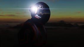 Astronautet går på den främmande planeten Marsinvånaren fördärvar på Science fictionbegrepp framförande 3d Royaltyfri Foto