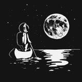 Astronautet simmar med fartyget till månen Royaltyfria Bilder
