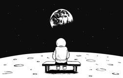 Astronautet sitter på månen och klockor till jord Royaltyfria Foton