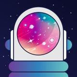 AstronautGALAXbakgrund, i en annan solsystem royaltyfri bild