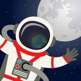AstronautHelmet Reflecting Planet jord royaltyfri illustrationer