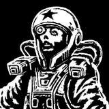 Astronauthjältinna i utrymmedräkt också vektor för coreldrawillustration Arkivbild