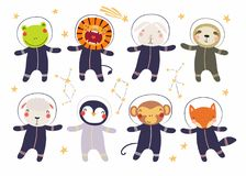 Astronauti animali svegli messi illustrazione vettoriale