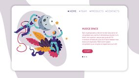 Astronauti dello spazio o astronauti e modello enormi della pagina Web della luna illustrazione di stock