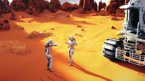 Astronauti su un Marte che discutono dopo l'esplorazione del pianeta Un concetto futuristico di una colonizzazione di Marte illustrazione di stock