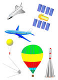 Astronautics and Space Icons set. Vector. Astronautics and Space Icons set. Spaceship, Shuttle, first spacecraft, communications satellite, rocket and balloon Stock Photos