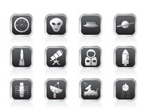 Astronautics and Space Icons Royalty Free Stock Photo