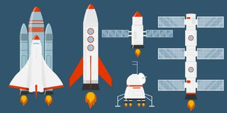 Astronautics and space technology set. Rocket Set. A collection of different rockets. Cartoon rocket, shuttle, spaceship, launch v. Ehicle. Space travel royalty free illustration