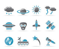 Astronautics and Space and univerce Icons Royalty Free Stock Photography