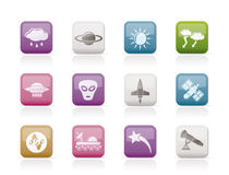Astronautics and Space and univerce Icons Stock Photography