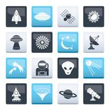 Astronautics, space and universe icons over color background. Vector icon set royalty free illustration