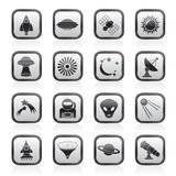 Astronautics, space and universe icons Stock Photos