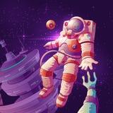 Astronautkontakt med främlingen i utrymmevektor royaltyfri illustrationer