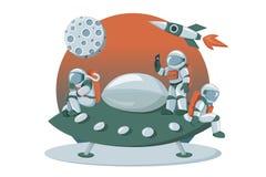 Astronautlandning på bild för instrumentbräda för främmande för utrymmeskepp tecknad film för expedition en plan vektor illustrationer