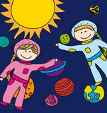 Astronauts. Child astronauts over planets and sun background. vector Stock Image
