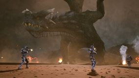 Astronauts against the dragon. Epic battle with explosions, shots and smoke on an uncharted planet. 3D animation fantasy