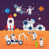 Astronauts characters set in flat cartoon style. Human spaceman and a cute extraterrestrial. Set of universe infographic vector illustration with rocket Royalty Free Stock Photos