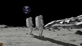 Astronauts discovers an alien ship on the moon. Conspiracy Theory Concept.