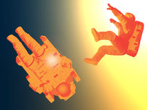 Astronauts drifting Royalty Free Stock Images