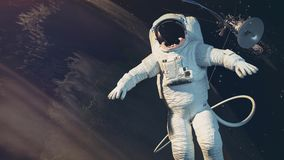 The astronauts, Earth, satellite. 3d rendering andl illustration Stock Images