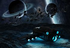 Astronauts exploring an asteroid 3D rendering elements of this i. Astronauts exploring an asteroid with a futuristic spaceship 3D rendering elements of this Royalty Free Stock Images