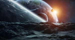 Astronauts exploring an asteroid 3D rendering elements of this i Royalty Free Stock Images